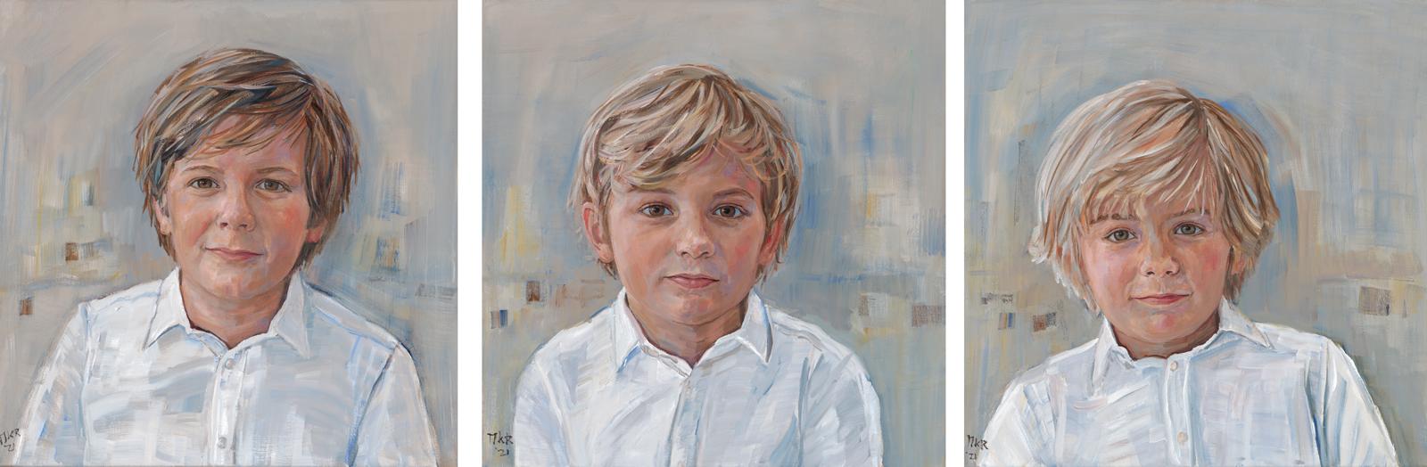 portretschilderijen van drie broers in olieverf