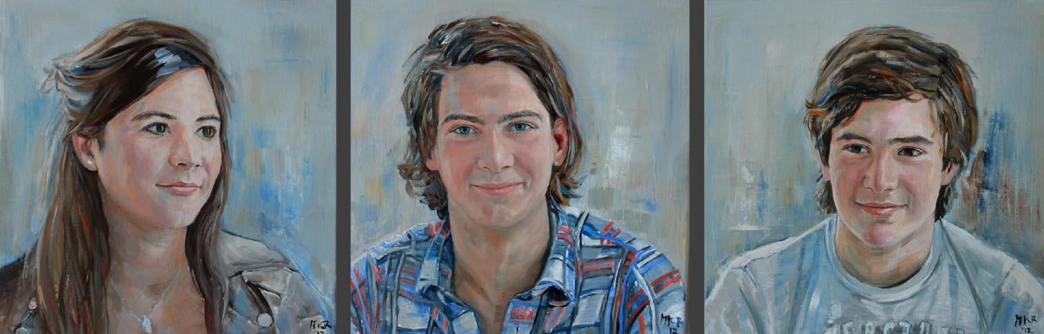 portretschilderijen in olieverf van twee broers en zus