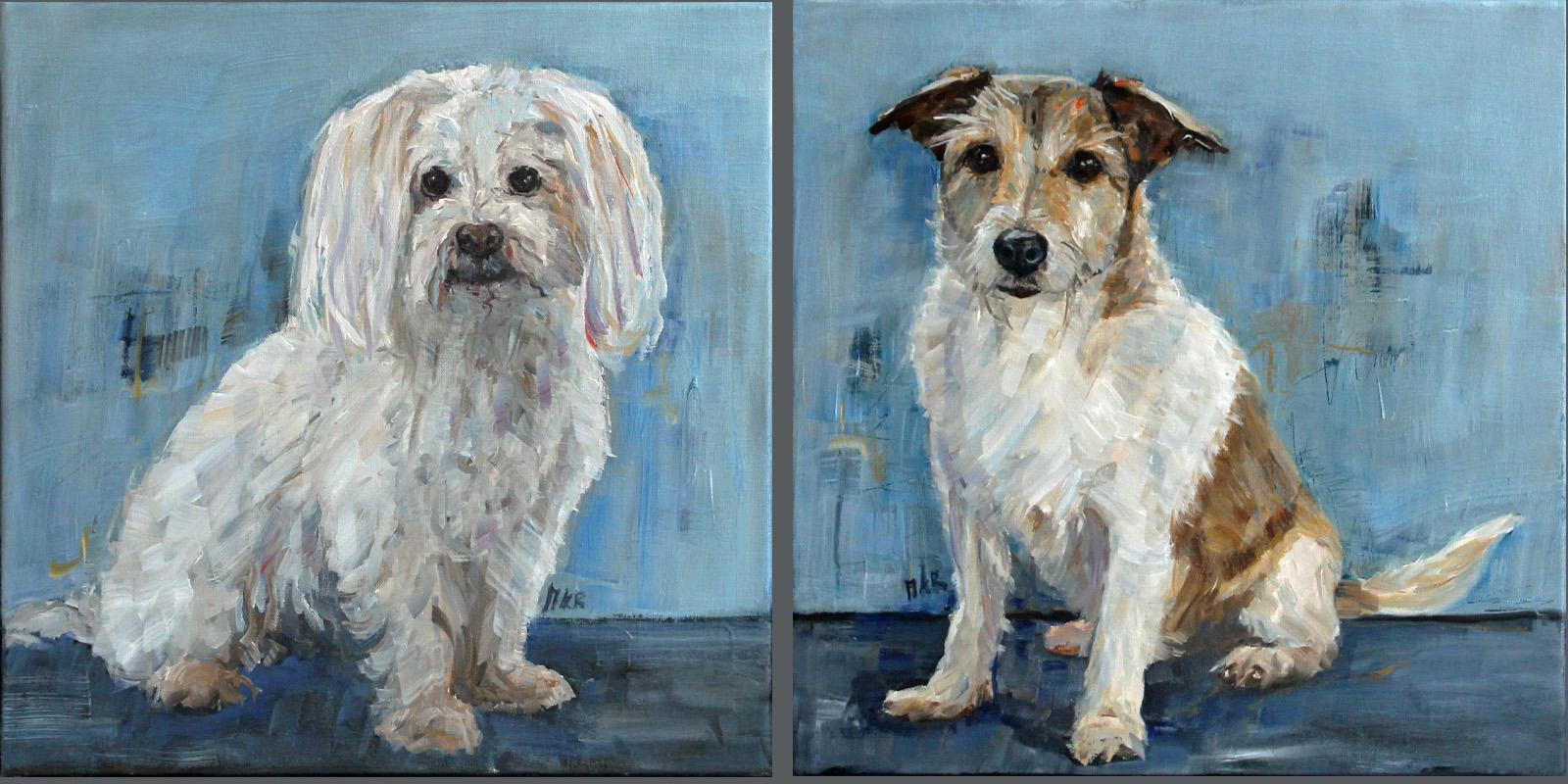 twee hondjes in olieverf
