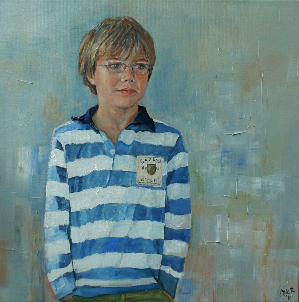 portret van jongen in olieverf