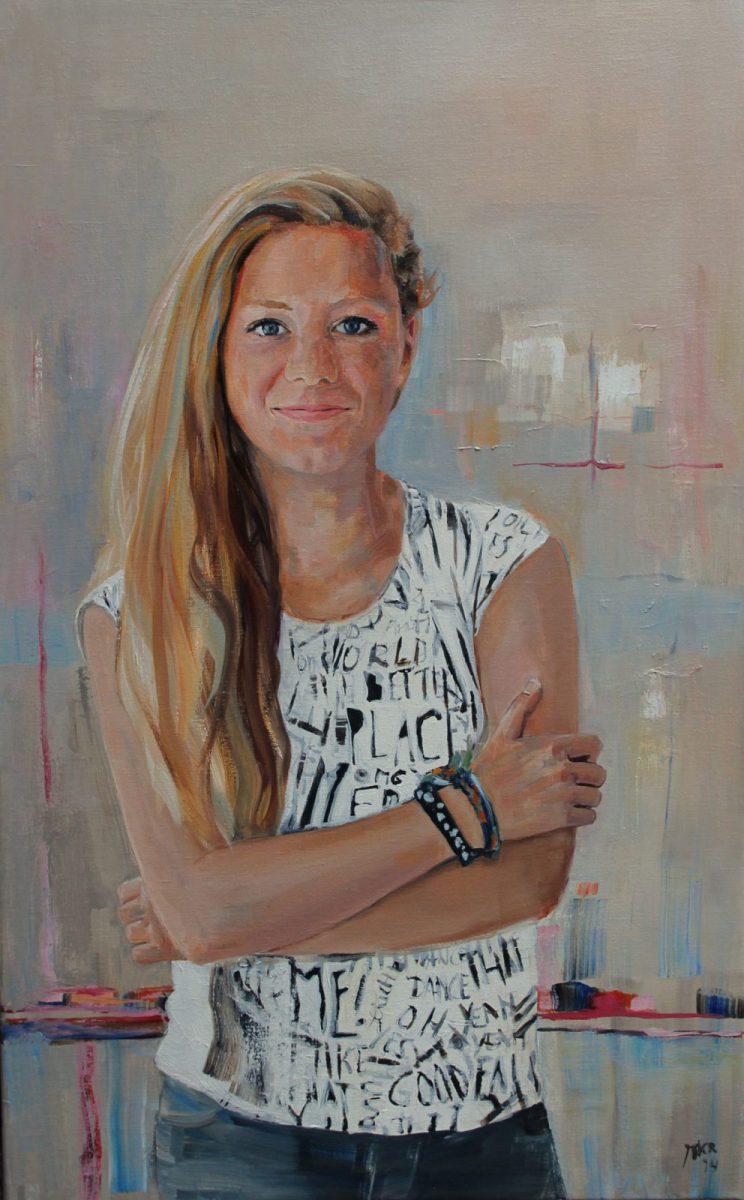 portretschilderij van meisje in olieverf