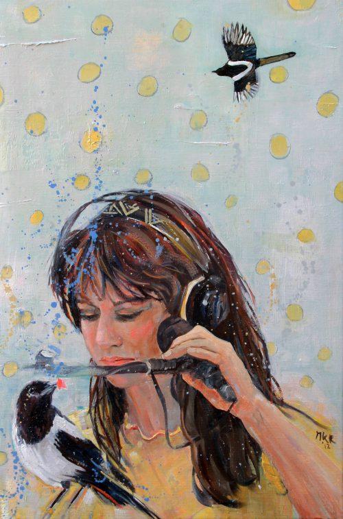 portretschilderij Ellen ten Damme en haar ekster Ari
