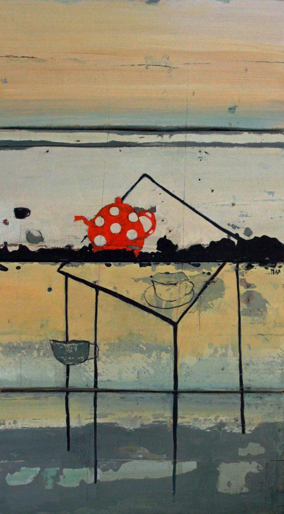 moderne kunst, inkt en olieverf op oude vloerdelen.