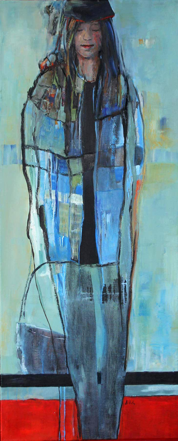 moderne kunst, olieverf 50 x 120 cm