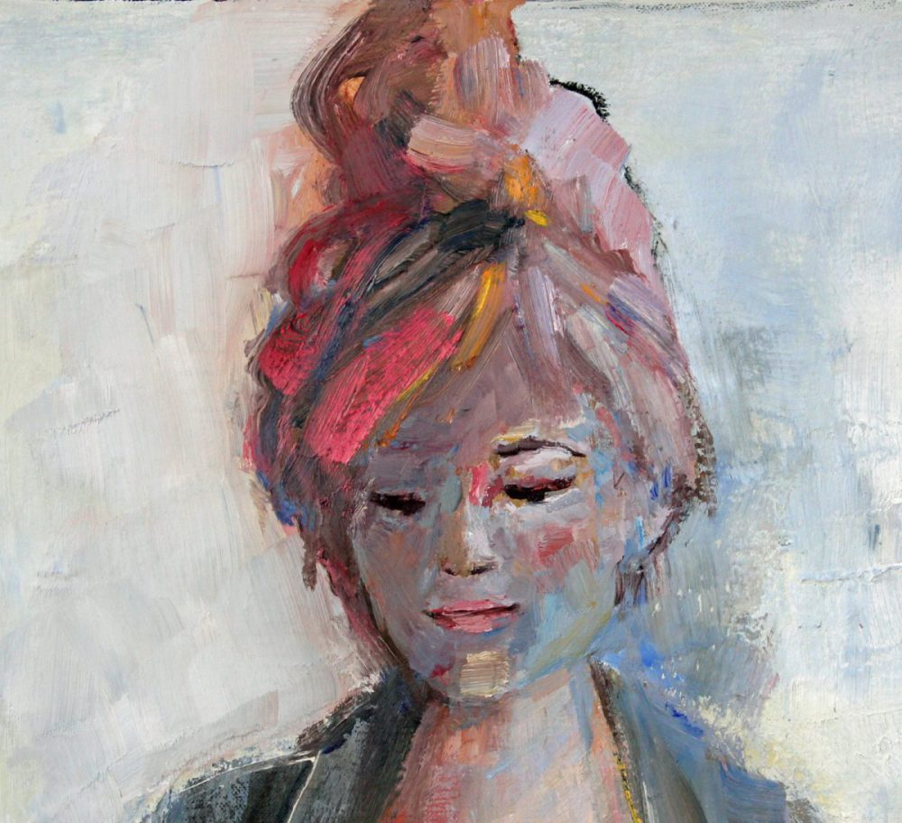 Detail of painting Girl with pink bag.