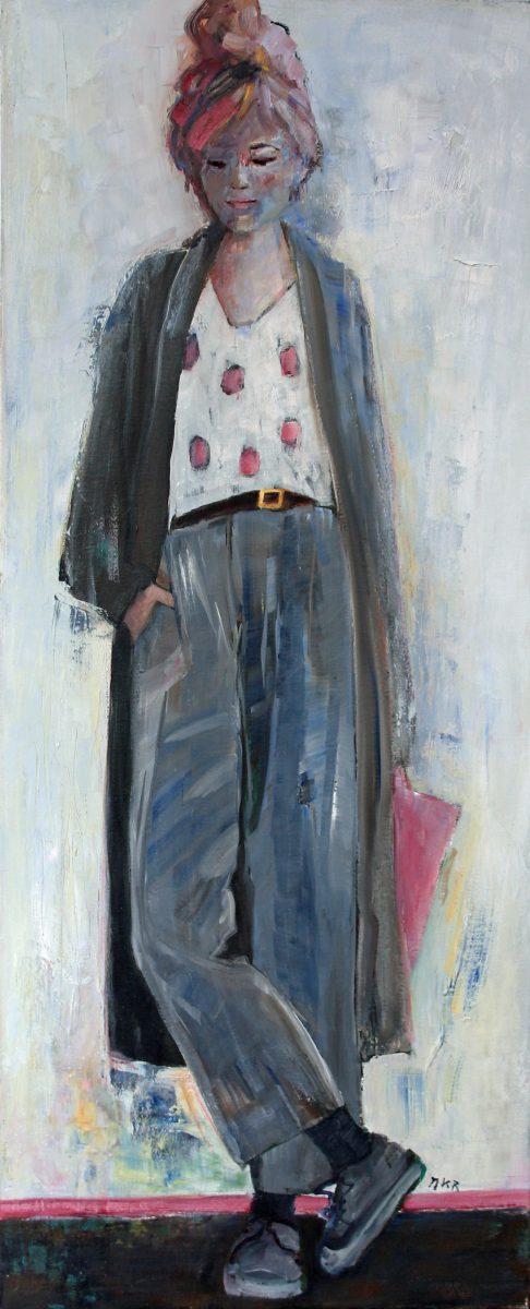 moderne kunst, olieverf en wasmedium op linnen. Girl with pink bag.
