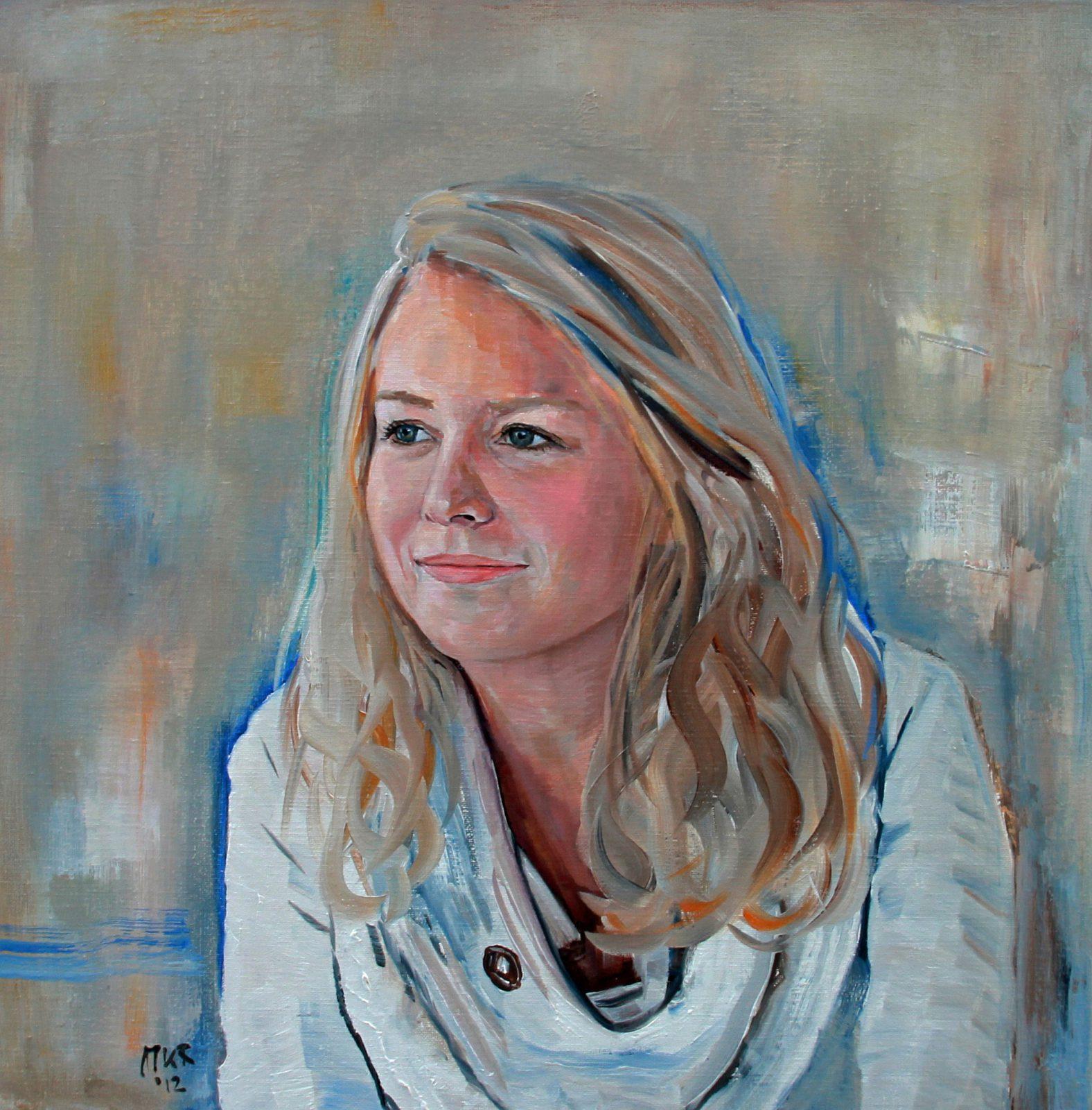 portretschilderij in olieverf van meisje