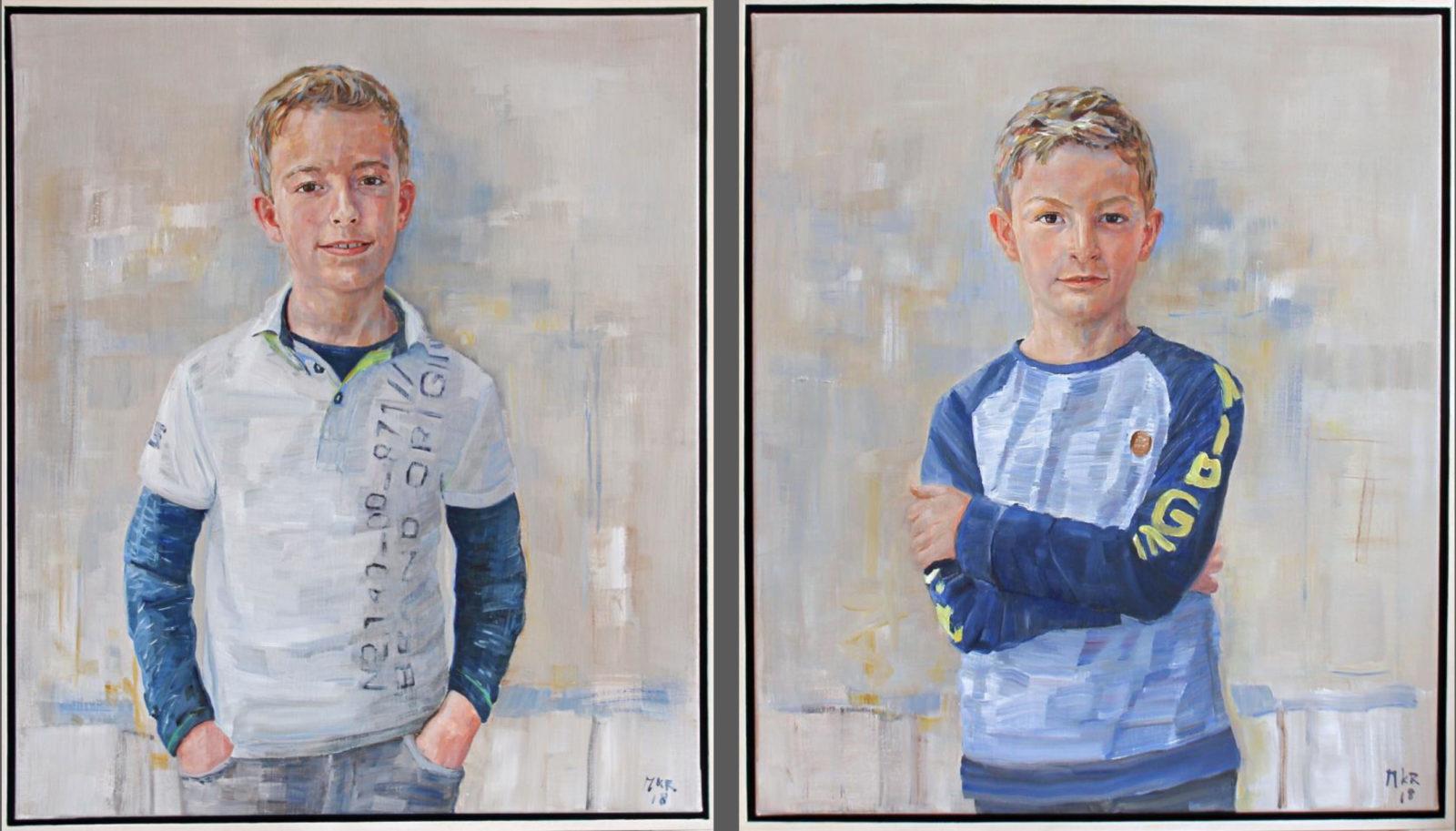 portretschilderijen van twee broers in olieverf.