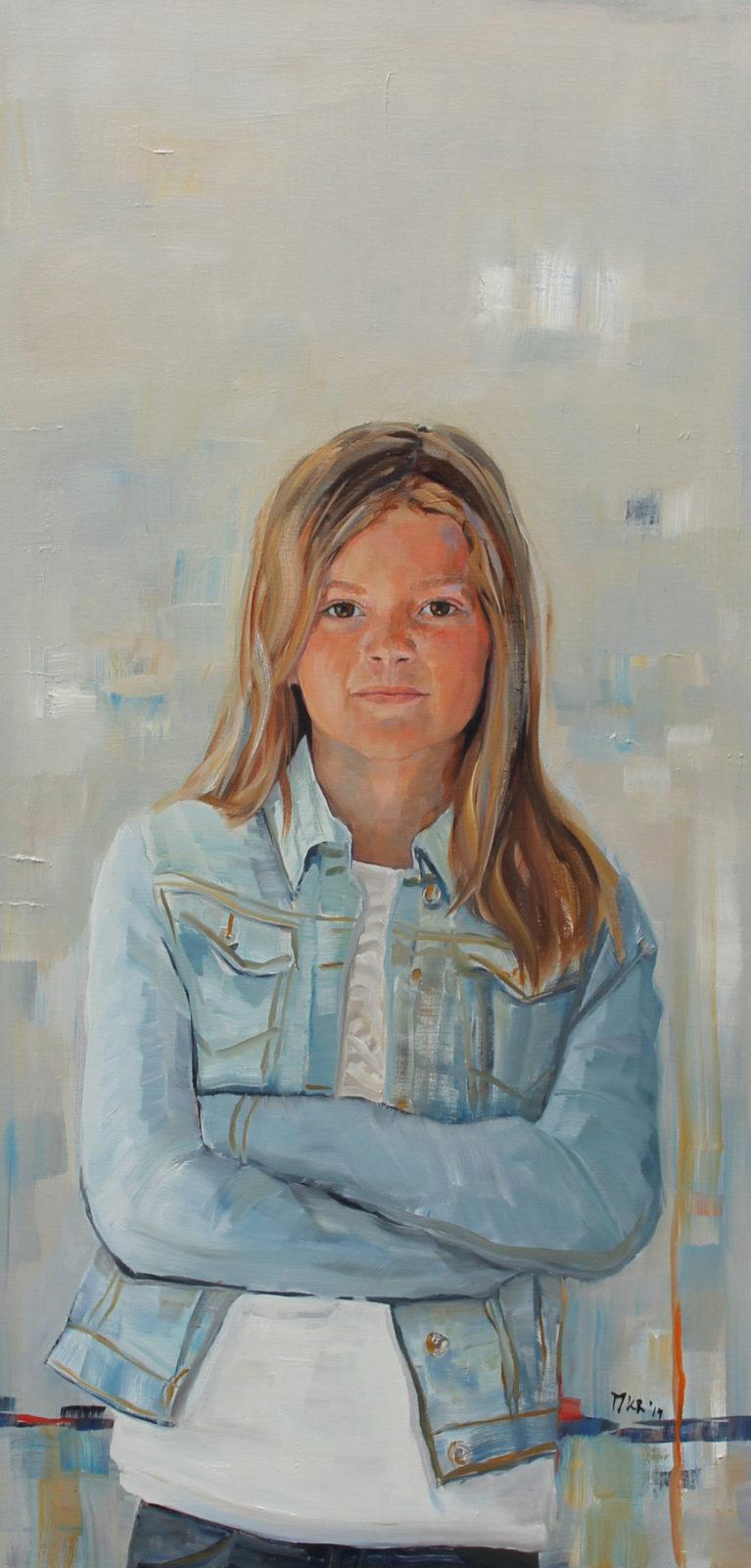olieverfportret van meisje, 50x100 cm.