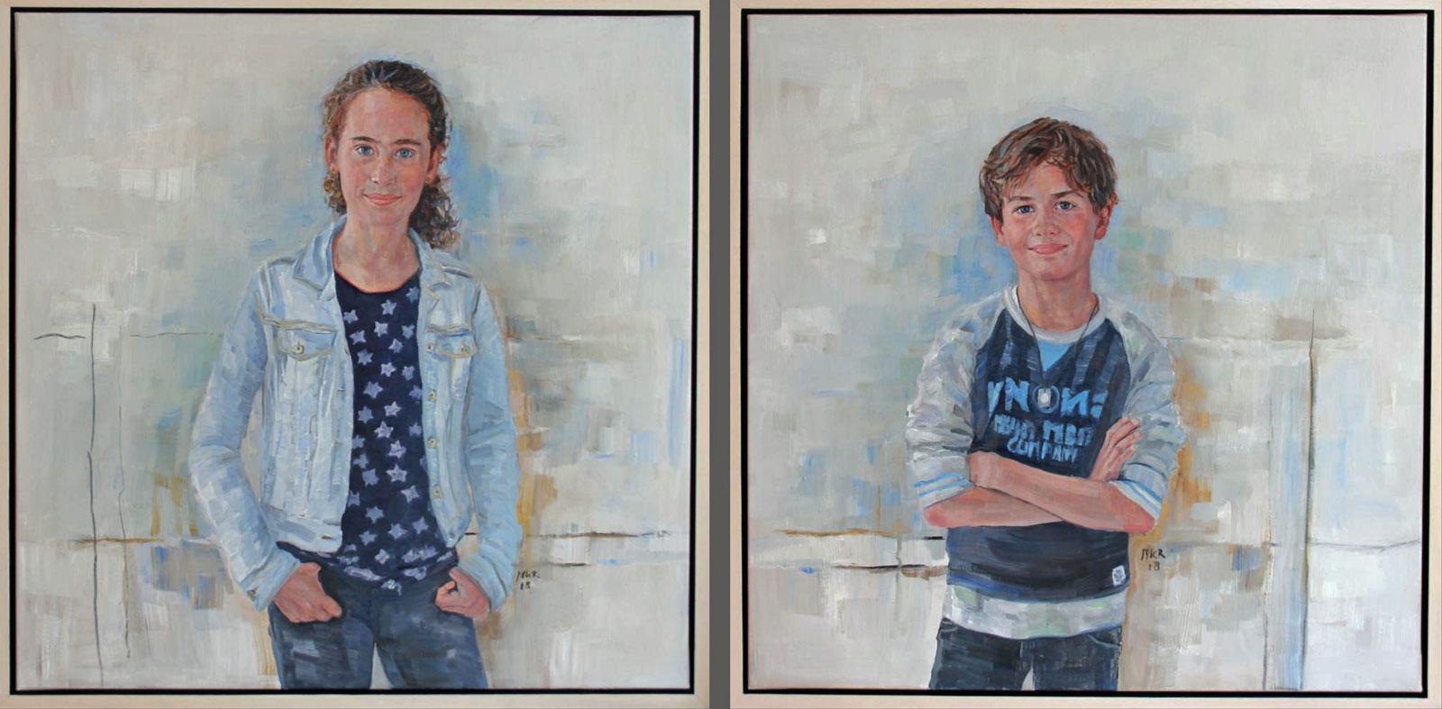 portretschilderijen broer en zus in olieverf