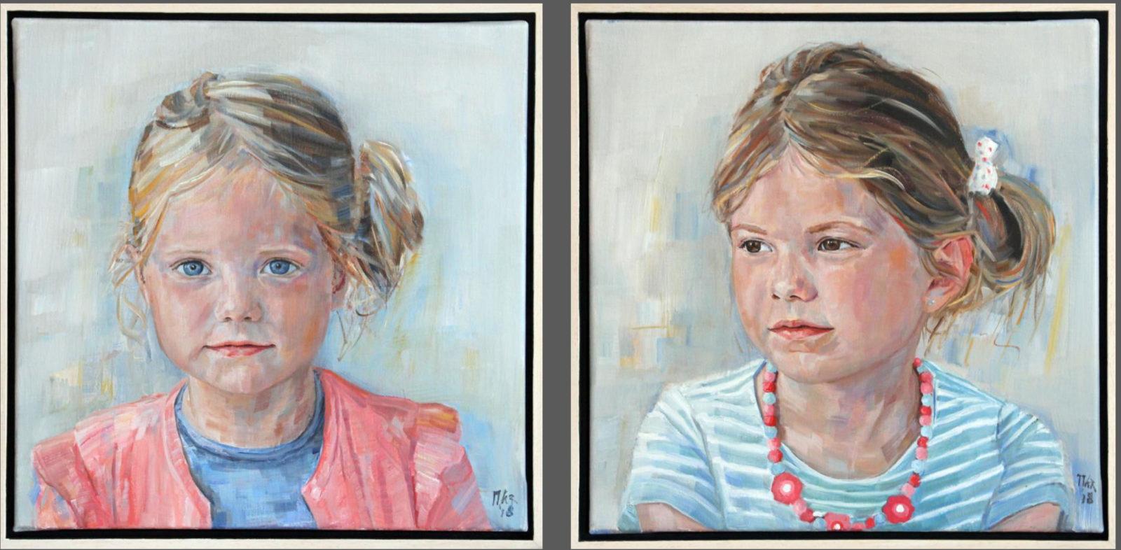 portretschilderijen van twee zusjes