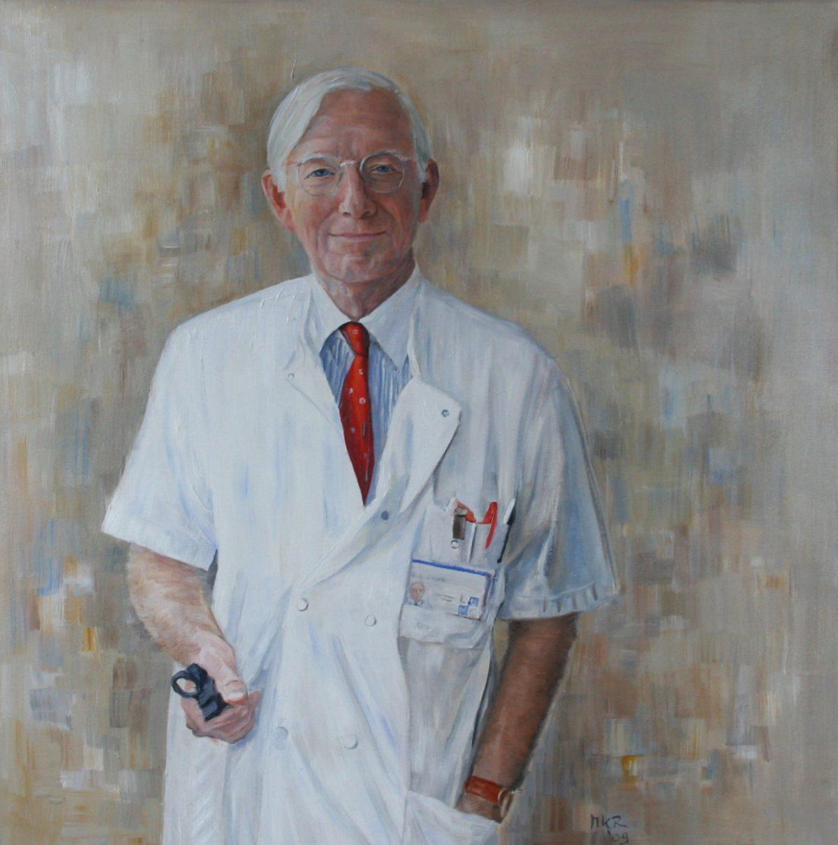 Portretschilderij van Professor Sterk voor het LUMC