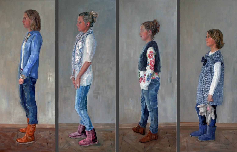 portretschilderijen van vier dochters.