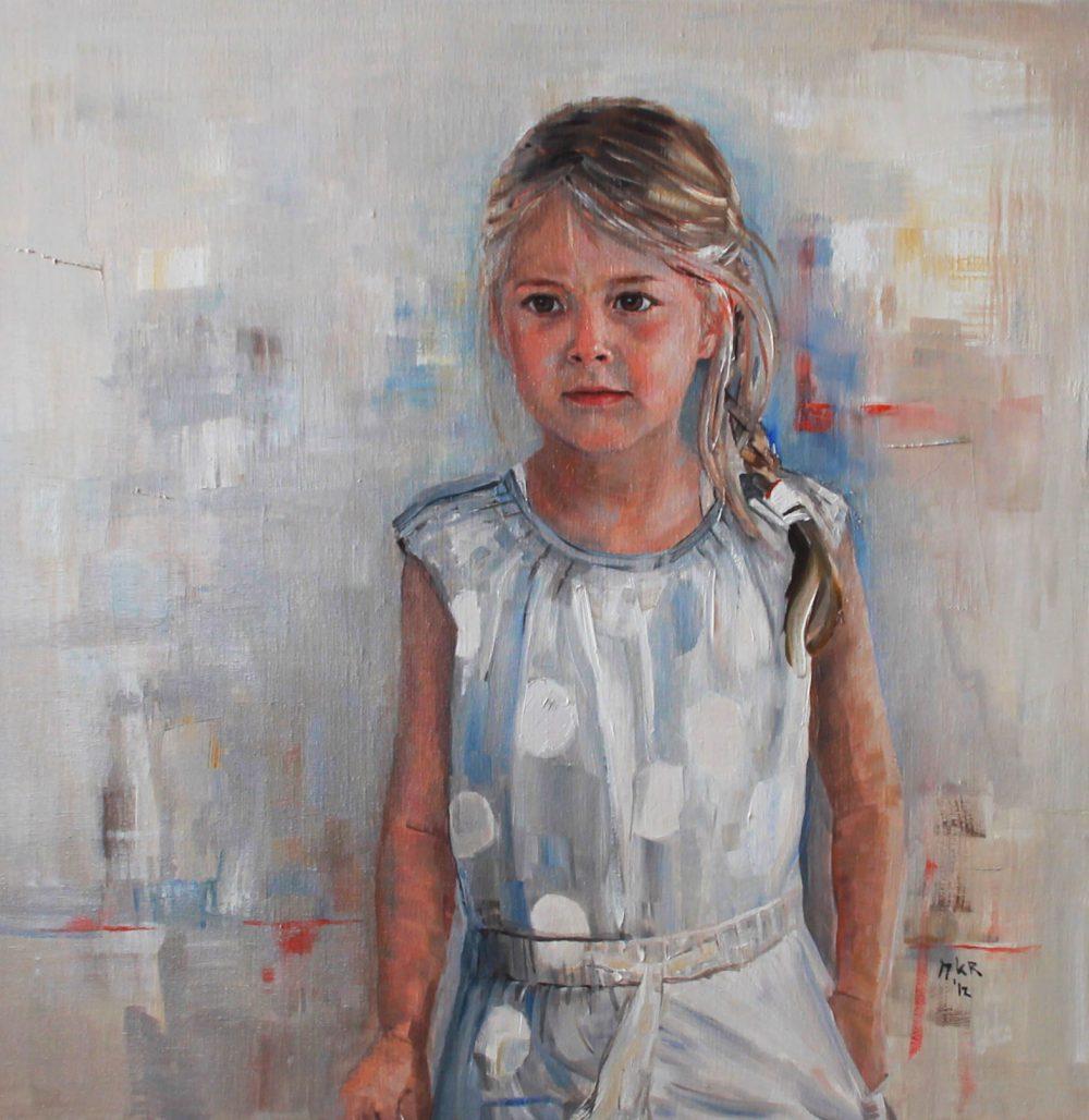 portret van meisje in olieverf