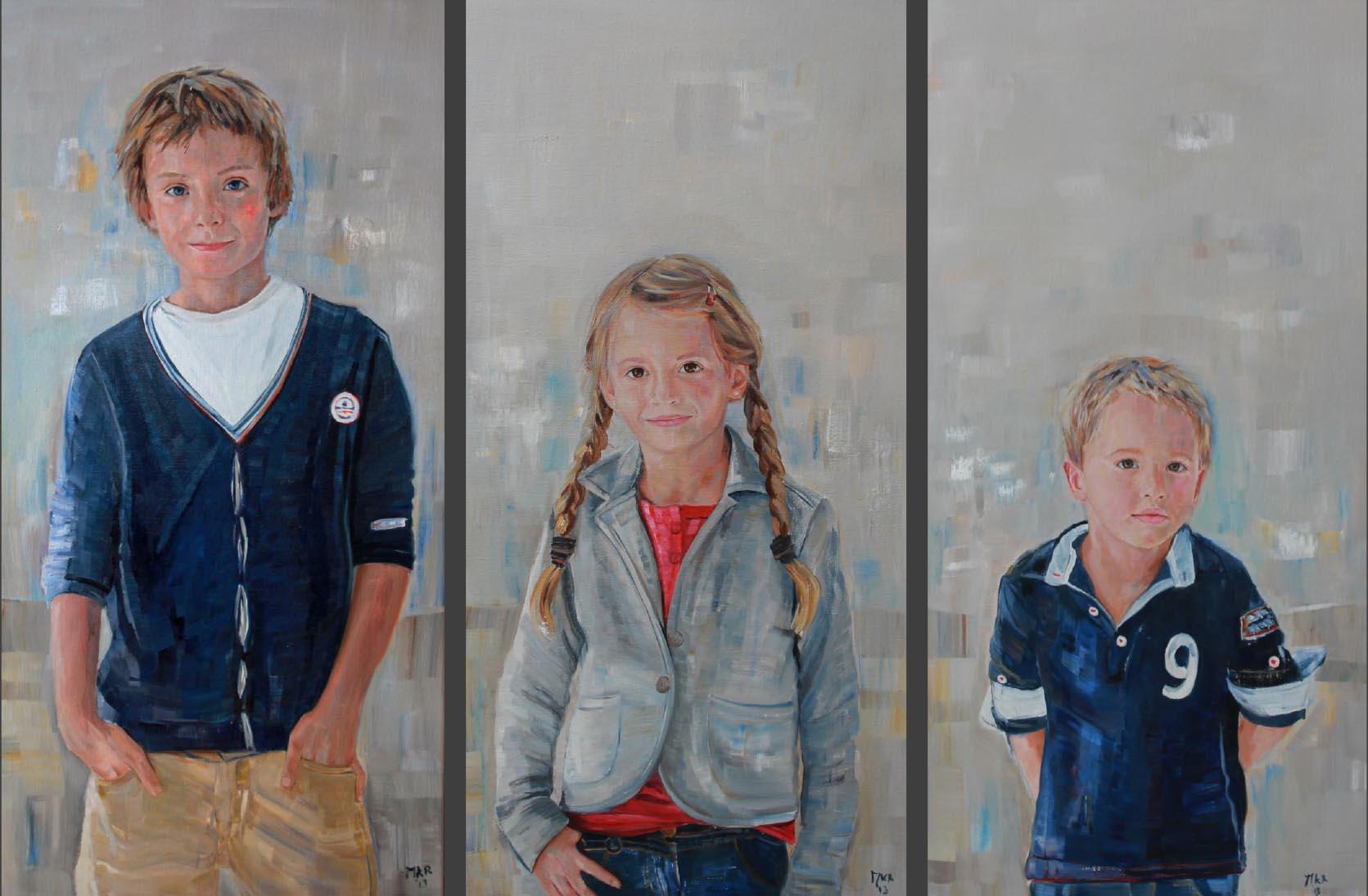 portretten van twee broers en zus