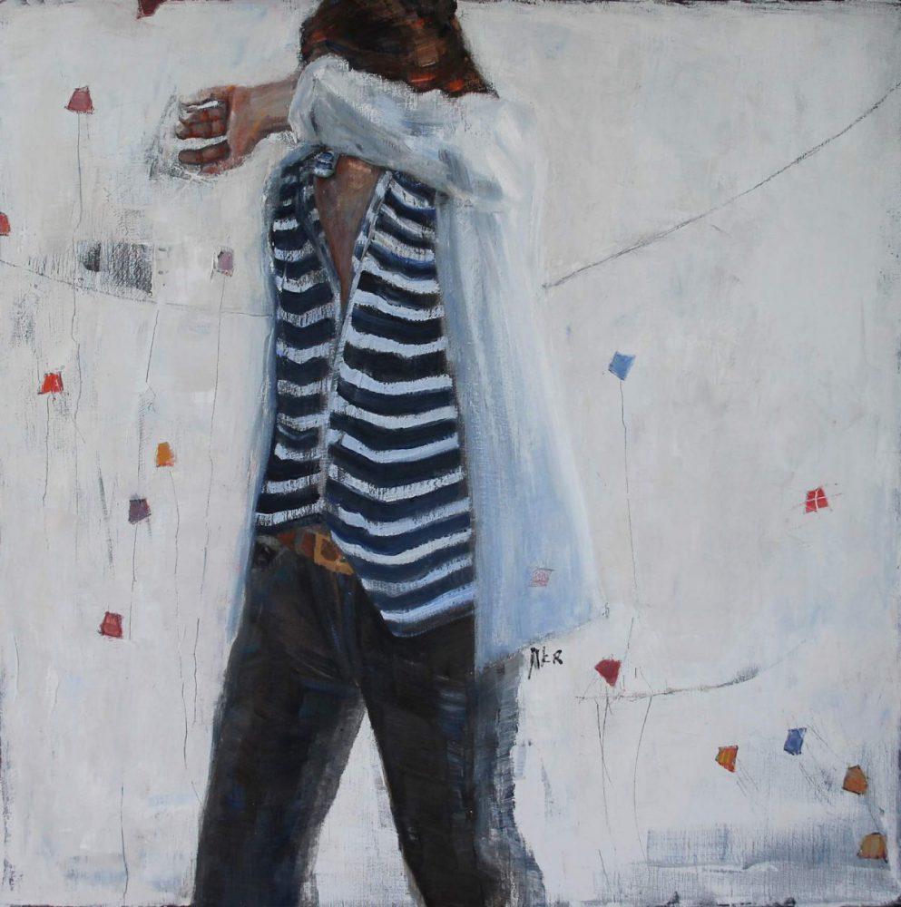 Modern schilderij, olieverf en wasmedium