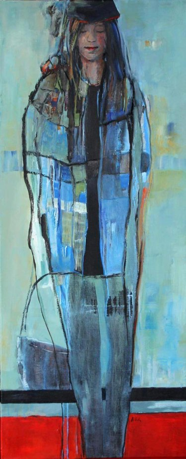 Girl with blue coat, 50 x 120 cm, te koop via modernekunst.nl