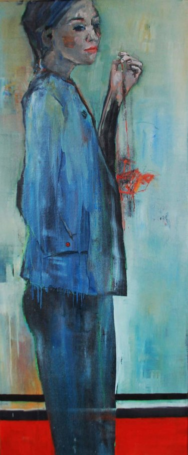 Woman in blue, sold.