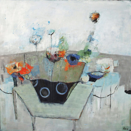 Flowers and Pots 2, framed, oil and wax, 80 x 80 cm