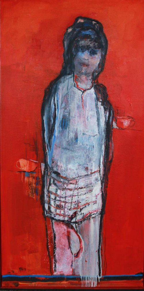 Girl in red, oil on linen, 50x100 cm, framed.