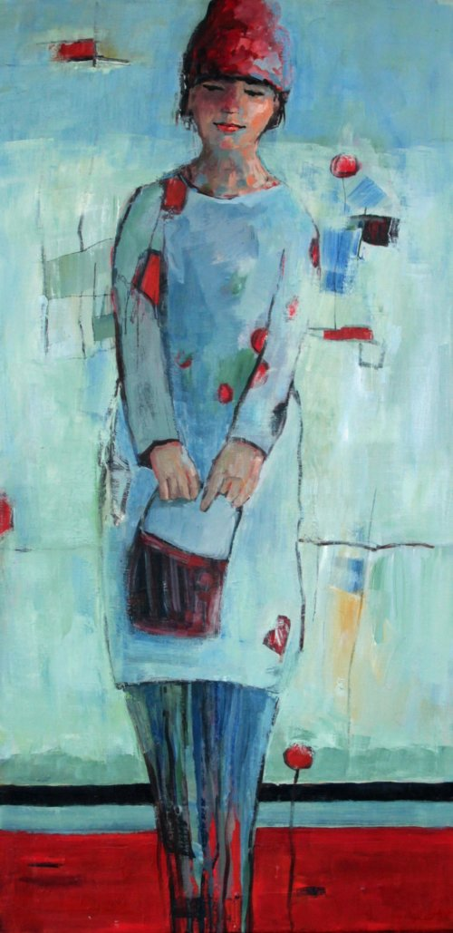 Wintershopping, oil on linen, 50x100 cm, framed.