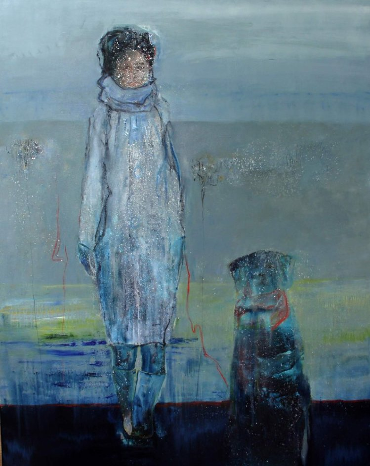 Woman with dog, 120x150 cm, sold