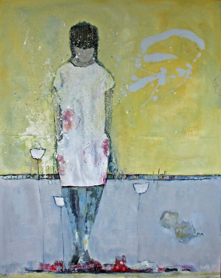 Woman with red shoes, 120x150 cm, sold