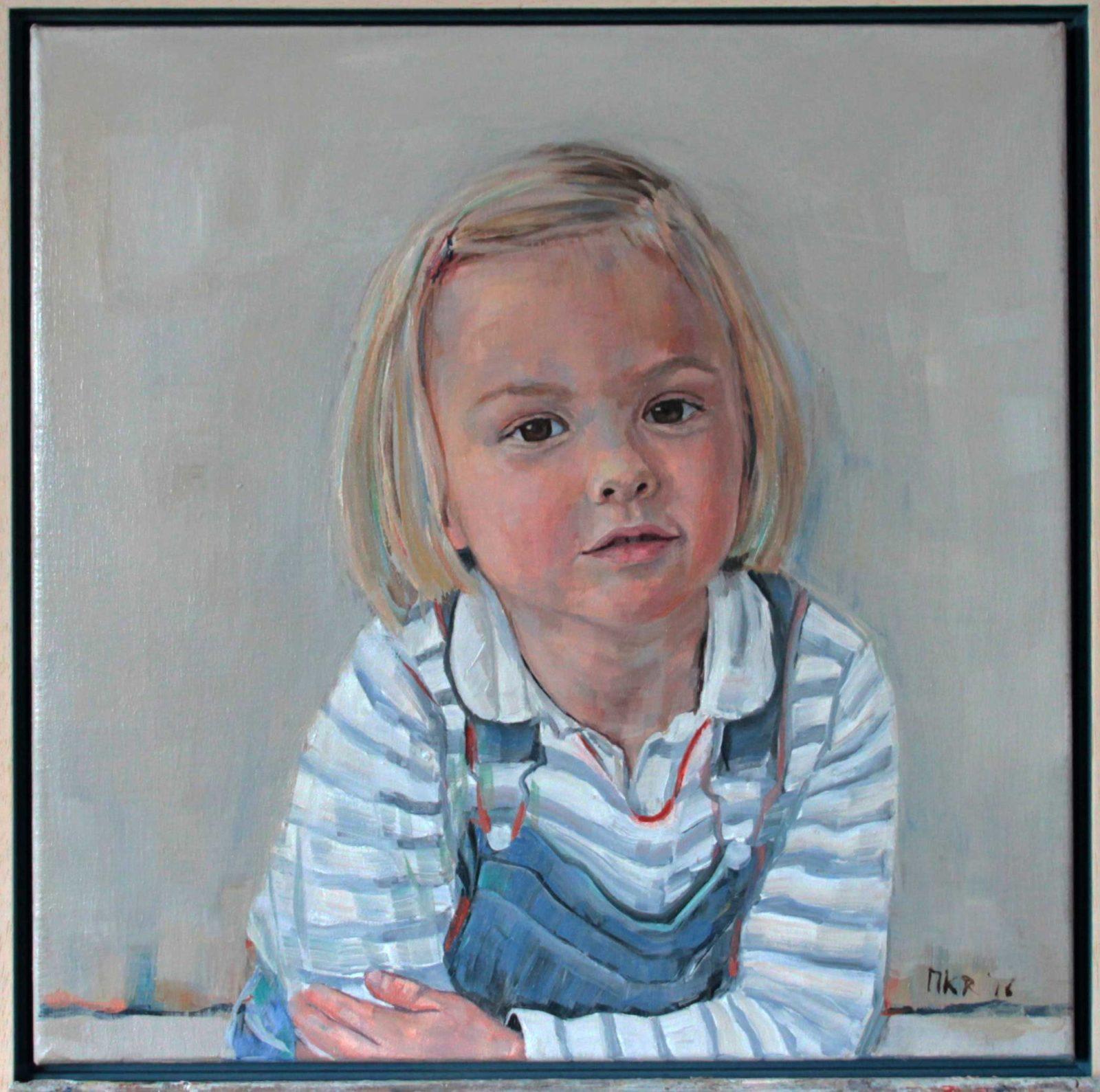 portretschilderij in olieverf van Bibi